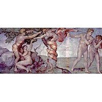 Original Sin And Expulsion By Michelangelo - Museum Canvas Print