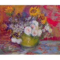 Still-Life With Roses And Sunflowers By Van Gogh - Museum Canvas Print