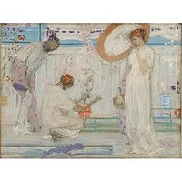 Whistler - The White Symphony With Three Girls - Museum Canvas Print