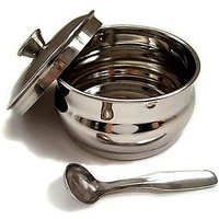 Stainless Steel Ghee Pot With Lid And Spoon - 74748556
