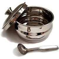 Stainless Steel Ghee Pot With Lid And Spoon