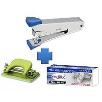 Combo Set Kangaro Stapler No.10 + Stapler Pins + Paper Punch Machine