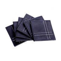 Leather Coaster Set Of 6 Black