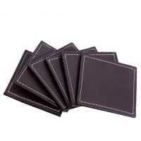 Leather Coaster Set Of 6 Brown