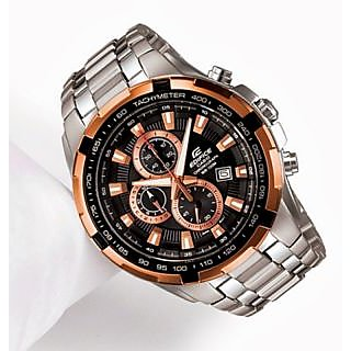 CASIO EDIFICE COPPER BLACK DIAL SPORT CHRONOGRAPH MEN WATCH EF-539 + BOX