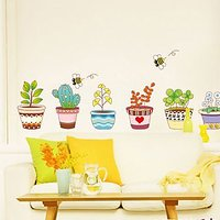 Wall Stickers Wall Decals 6 Colourful Lovely Flower Pots 732