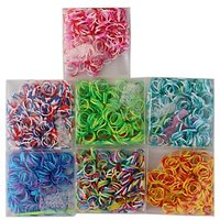 1000 Loom Bands In 4 Multi-Colour, 40 S-Clips, 4 Mini Hooks, 4 Y Shape Loom
