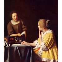 Mistress And Maid By Vermeer - Museum Canvas Print