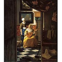 The Love Letter By Vermeer - Museum Canvas Print
