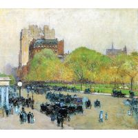 Spring Morning In The Heart Of The City By Hassam - Canvas Art Print