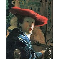 Girl With Red Hat By Vermeer - Museum Canvas Print