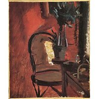 Chair With A Plant In Front Of Red Wall By Anna Ancher - Museum Canvas Print