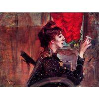 The Red Curtain By Giovanni Boldini - Fine Art Print