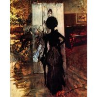 Woman In Front Of The Painting 'White Pastel Picture' By Giovanni Boldini - Museum Canvas Print