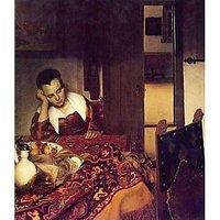 A Woman Asleep By Vermeer - Museum Canvas Print