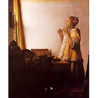 The Pearl Necklace By Vermeer - Fine Art Print