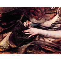 Hands Of A Woman Sewing By Giovanni Boldini - Canvas Art Print