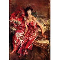 Lady In Red By Giovanni Boldini - Canvas Art Print