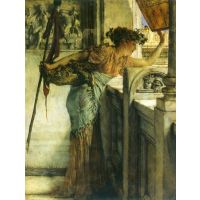 A Bacchantin - 'There He Is!'  By Alma-Tadema - Canvas Art Print