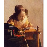 The Lacemaker  By Vermeer - Museum Canvas Print
