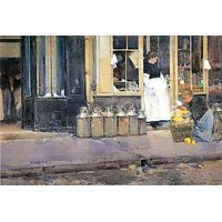 The Flower Girls And The Milk Vendor By Hassam - Fine Art Print