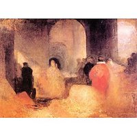 A Dinner In A Large Room With People In Costumes By Joseph Mallord Turner - Fine Art Print