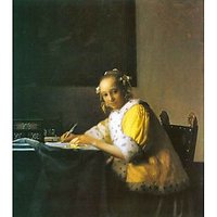 Woman In Yellow By Vermeer - Museum Canvas Print