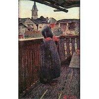 On The Balcony By Giovanni Segantini - Canvas Art Print