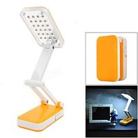 24 SMD LED Foldable Rechargable Desk Table Lamp Light White 360 Degree Rotatable Build-in Rechargeable Battery