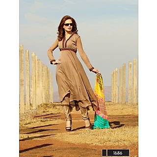 Thankar New Attractive Designer Light Brown AnarkaliSuit With MultiColor Dupatta