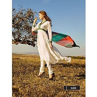 Thankar New Attractive Designer Off White Anarkali Suit With Multi Color Bandhni