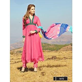 Thankar New Designer Light Pink Anarkali Suit With Multi Color Bandhni Dupatta - 74863054