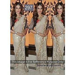 Bipasha Basu Embroidery Net Bollywood Replica Saree