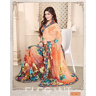 Kiteshop ORANGE SHADED PRINTED SAREE – ONLINE SAREE