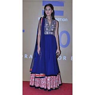 Indian Traditional Designer Ethnic Nargis Fakhari Blue  Anarkali Dress