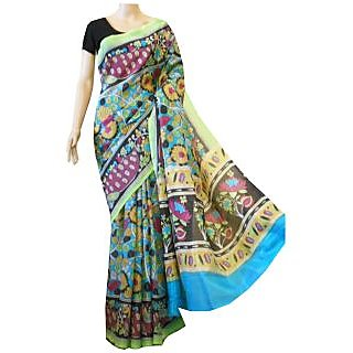 Mistyque Turquoise And Black Kalamkari Printed Silk Saree