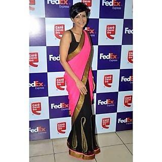 Bollywood Sarees: Mandira Bedi Pink Georgette Stylish Bollywood Saree