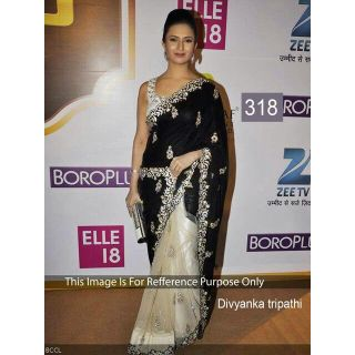 Divyanka Tripathi Black And White Net Bollywood Saree