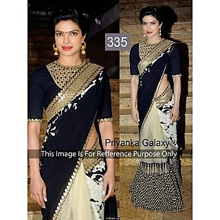 Priyanka Black And White Designer Bollywood Saree