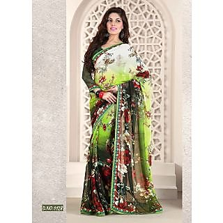 Kiteshop Green And Black Shaded Printed Saree