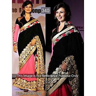 Divyanka Tripathi Black And Pink Net Bollywood Saree