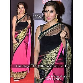 Indian Designer Replica Embroidered Bollywood Star Sophie Black Saree
