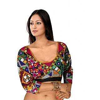 Lifestyle Boutique Multicolor Viscose Gamthi Designer Semi Stitched Blouse