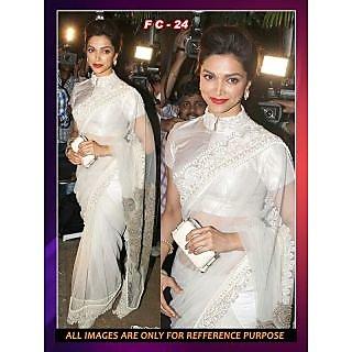Deepika White Net Bollywood Replica Saree Fc24