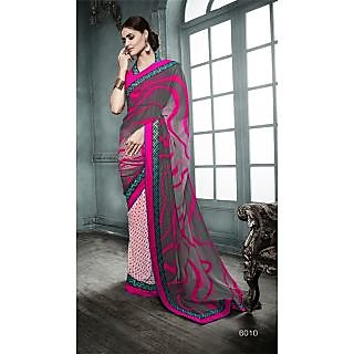 Magnum Opus Store Grey & Cream Color Georgette Saree.