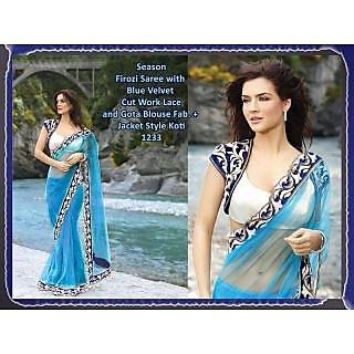 Designer Sea Blue Net Saree With Stylish Blouse