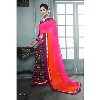 Magnum Opus Store Pink & Orange Color Georgette Saree.