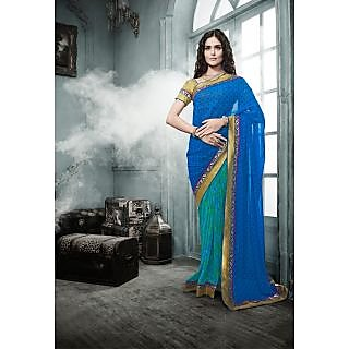 Magnum Opus Store Blue Color Georgette Saree.