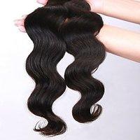LeModish Natural Remy Wavy Hair 18 Inches Natural Black
