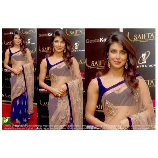 Priyanka Chopra Net Bright Designer Bollywood Saree